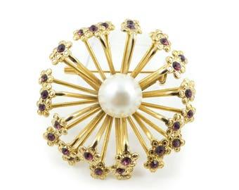 Vintage, Flower Brooch, Purple, Rhinestones, Gold Tone, Faux Pearl, STJ108