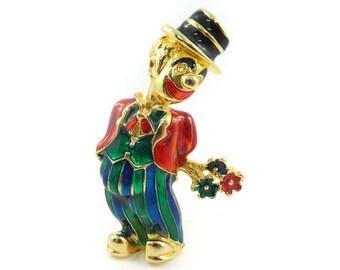 Vintage Clown Brooch, Enamel, Gold Tone, STG13