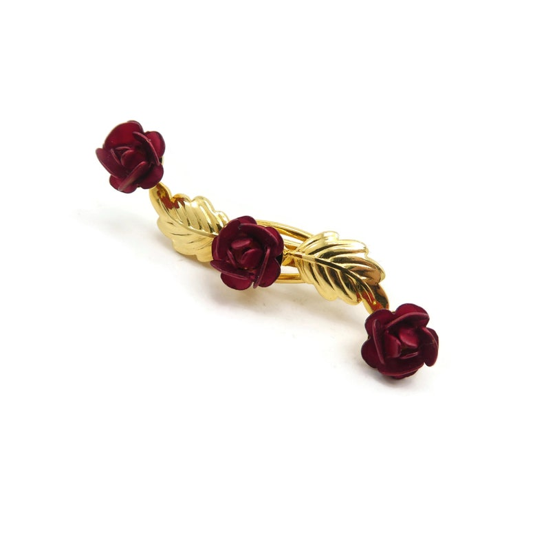 Vintage Gold Tone Red Rose Brooch RESERVED FOR AY Leaves