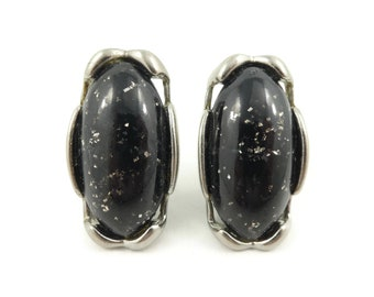 Vintage, Black Glass, Cab Earrings, Sparkles, Silver Tone, Clip Ons