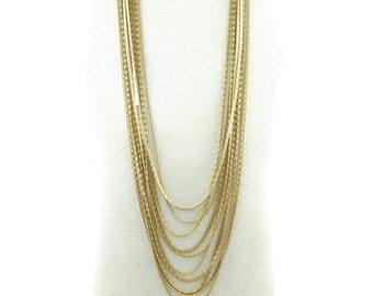Vintage, Multi Chain, Necklace, Gold Tone