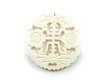 Vintage Asian Style Pendant, Cream Lucite, Ivory Look
