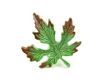 Vintage Gerrys, Leaf Brooch, Green Red, Enamel, STB58