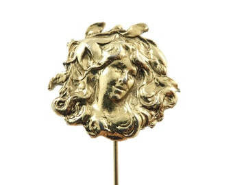 Vintage, Art Nouveau Style, Lady Stick Pin, Gold Tone