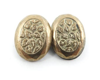 Victorian Cuff Link, Leaves, One Link, Repurpose, STJ13