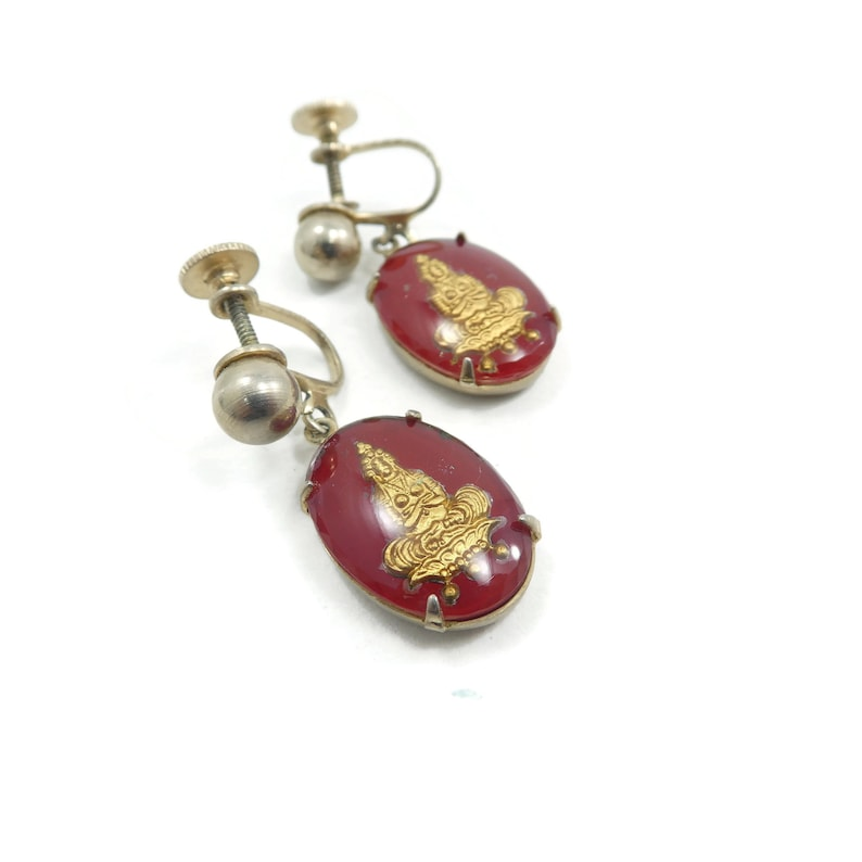 Vintage Asian Glass Screw Back Gold Tone Red Buddha Earrings Silver Tone