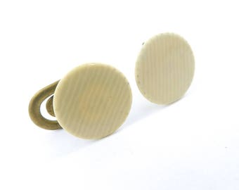Vintage The King 20th Century Cuff Links, Cream Lucite, Signed, V20