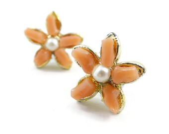 Vintage Real Coral, Flower Earrings, Faux Pearls, Posts