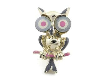 Vintage, Owl Brooch, Enamel, Gold Tone