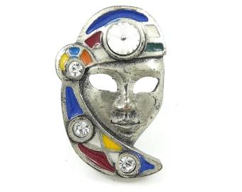 Vintage, Gypsy Brooch, Enamel, Rivoli, Rhinestones, Silver Tone, Signed, Ricordo di Venezia