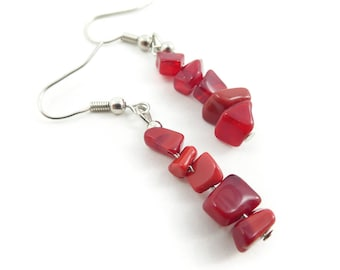Red Bead Earrings, Dangles, Hooks, STJ118