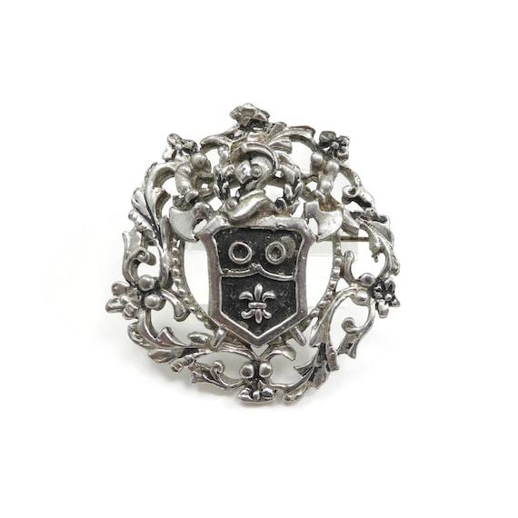Vintage, Heraldic Brooch, Silver Tone, Knight, Shi