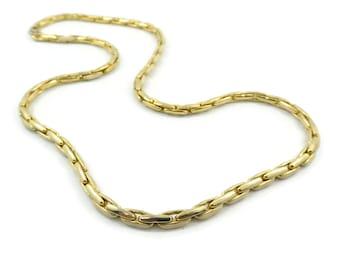 Vintage, Link Necklace, Cream Enamel, Gold Tone