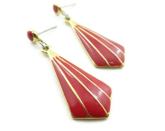Vintage, Red Enamel, Dangle Earrings, Gold Tone, Posts, Signed W & H