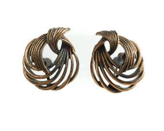 Vintage Coro, Copper Tone Earrings, Signed, Screw Backs, STB43
