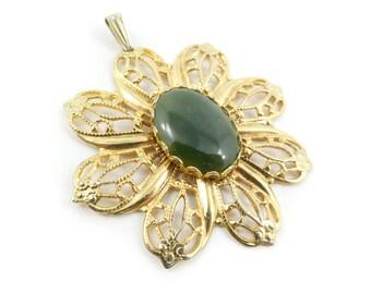 Vintage Jade, Flower Pendant, Filigree, Gold Tone