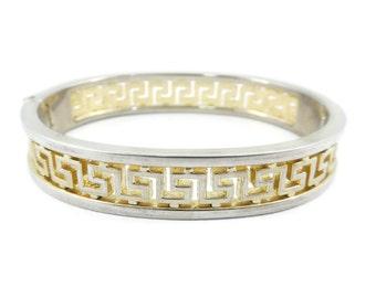 Vintage, Greek Key, Clamper Bracelet, Gold Tone