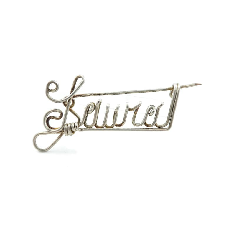 Name Brooch Laural Wire Work Gold Tone Vintage