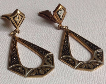 Beautiful Damascene  Dropper Earrings - Clip on - Gifts for Her - Mother's Day