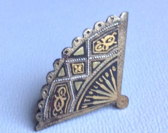 Damascene Fan Brooch Pin - Gifts for Her - Christmas Gifts