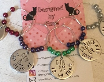 Hand stamped gin glass charms, gin glass markers, gift for a gin lover, gin drinker, gin lover gift,