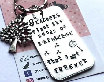 Teacher keyring, teacher gift, TA gift, End of year gift, Hand stamped, Thank you gift, Gift for Her, Gift for him, UK seller,