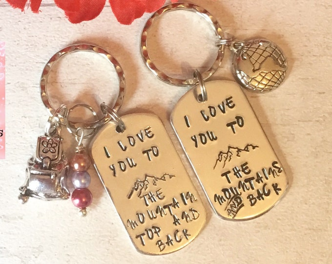 Mountain keyring, mountain gift, husband gift, wife gift, boyfriend gift, girlfriend gift, hand stamped, for her, for him