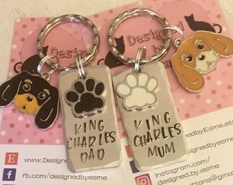 King Charles Spaniel dog keyring, Fathers day gift, king charles Mum, King Charles Dad, hand Stamped, bag charm, gift for him, for her,