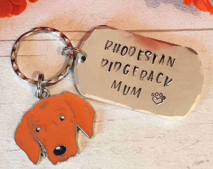 Rhodesian Ridgeback dad dog keyring, Father's Day gift,  Rhodesian Ridgeback gift, Rhodesian Ridgeback Mom, hand Stamped Key Ring, bag charm