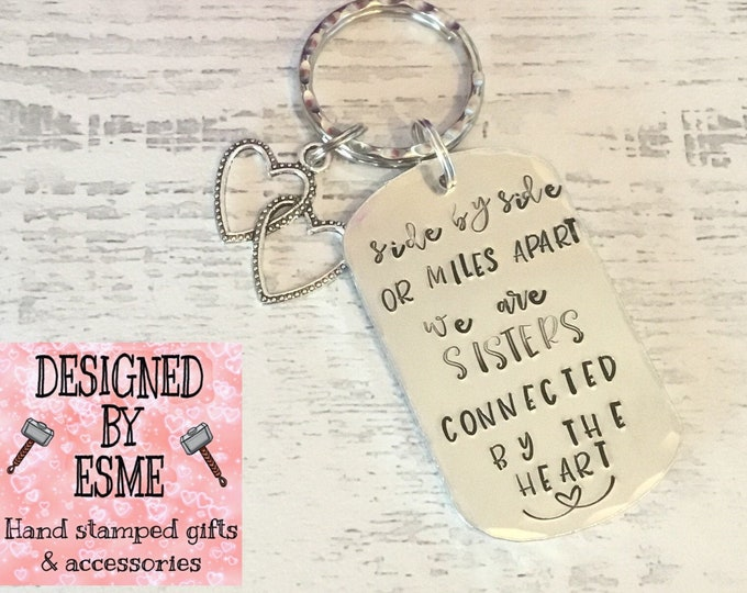 Sisters' gift, best friends' gift, Partners gift, connected by the heart, Miles apart, hand stamped, for her, forhim