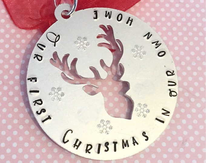 First Christmas in our own home, Christmas tree gift, stag bauble, personalised gift, handstamped tree decoration, home decor, gift for her,