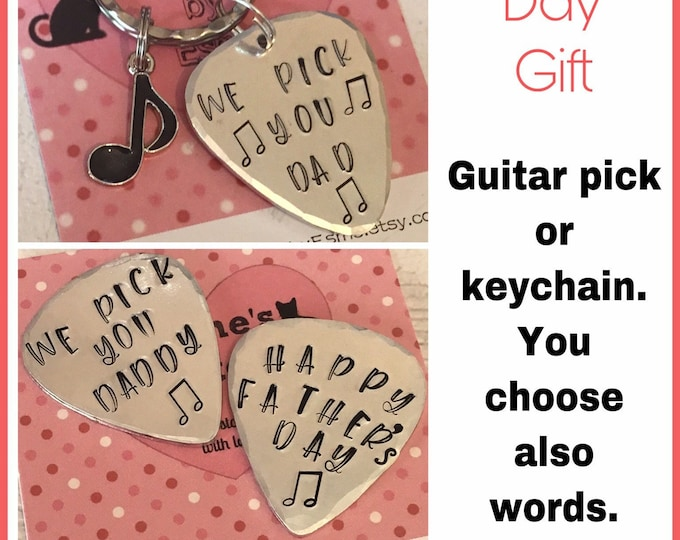 Guitar pick Fathers Day gift, personalised Hand Stamped music gift, guitar gift, gift for him, gift for her, uk seller, personalised,