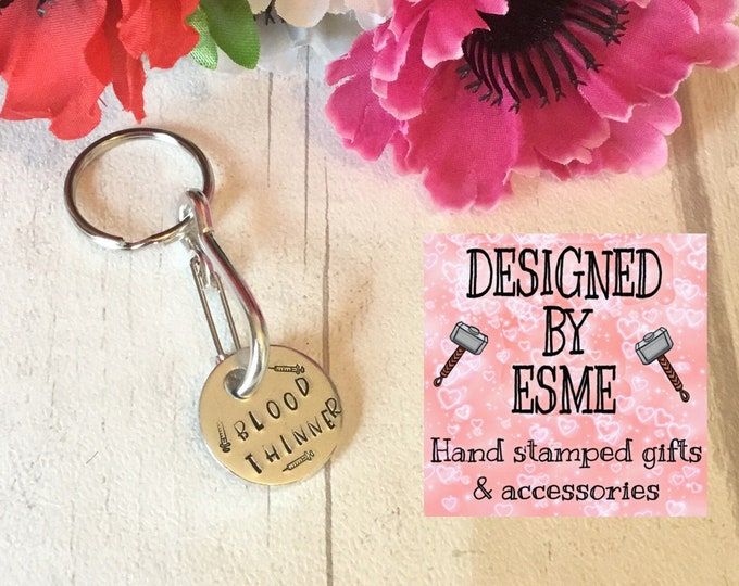 Personalised medical blood thinners alert keychain, INR alert, warfarin alert, Trolley token, Hand Stamped gift for him, gift for her,