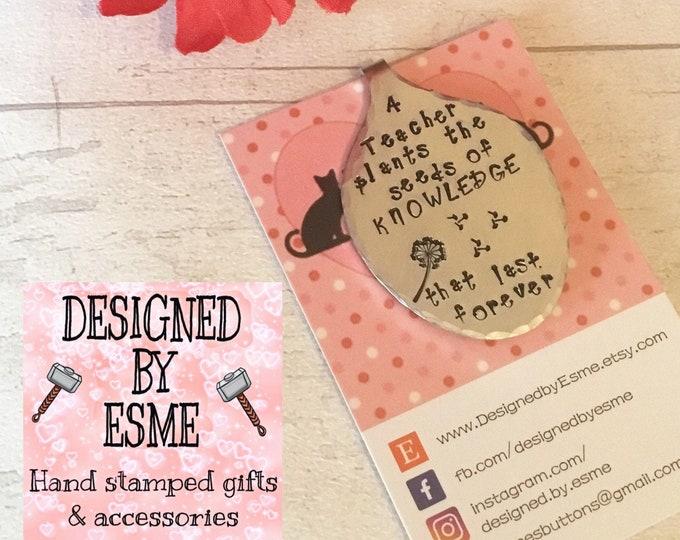 Hand Stamped teacher bookmark, teacher Bookmark gift, gift for teacher, bookmark, spoonie bookmark, gift for her, for him