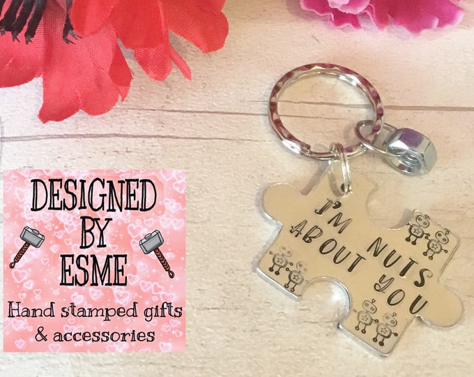 Im nuts about you Valentines gift,Robot gift, robot keyring, robot keychain, nuts about you, for him, for her, Hand Stamped gift,