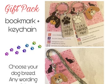 King Charles gift pack, King Charles keyring, King Charles bookmark,King Charles dog keychain Key Ring,for Mum, for Dad