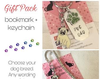 Pug gift pack, Pug keyring, Pug bookmark, Pug dog keychain, Pug Mum, Pug Handstamped Key Ring