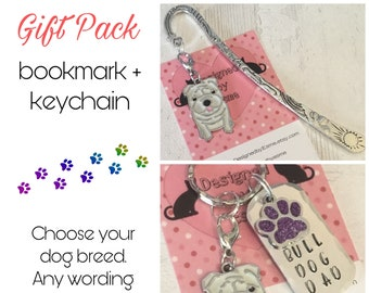 Bulldog gift pack, Bulldog keyring, Bulldog bookmark, Bulldog dog keychain, for Mum, for Dad