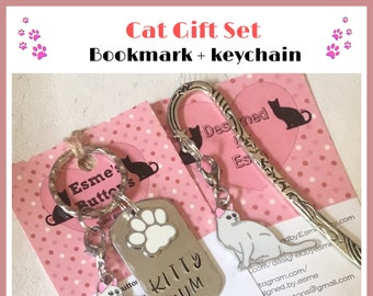 Short haired white cat gift set, white cat gift, Kitty mum gift, cat Dad, cat Mum, Hand Stamped, Key Chain, Gift for her, Gift for him,