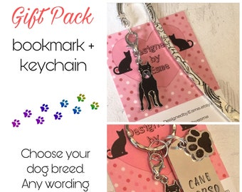 Cane Corso gift pack, Cane Corso keyring, Cane Corso bookmark, Cane Corso dog keychain, for Mum, for Dad