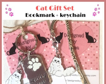 Long haired white cat gift set, white cat gift, Kitty mum gift, cat Dad, cat Mum, Hand Stamped, Key Chain, Gift for her, Gift for him,