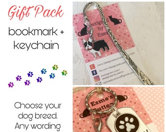 Boston gift pack, Boston keyring, Boston bookmark, Boston dog keychain Key Ring,for Mum, for Dad