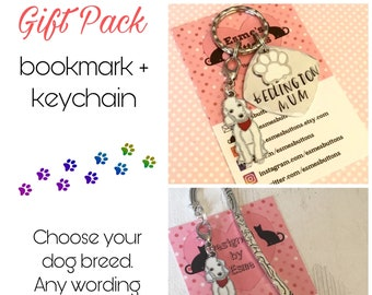 Bedlington gift pack, Bedlington keyring, Bedlington bookmark, Bedlington dog keychain, for Mum, for Dad