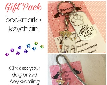 Jack Russell gift pack,  Jack Russell keyring,  Jack Russell bookmark, Jack Russell dog keychain Key Ring,for Mum, for Dad