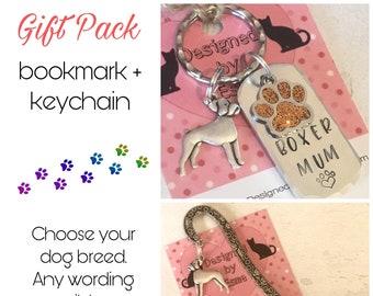 Boxer gift pack, Boxer keyring, Boxer bookmark, Boxer dog keychain Key Ring,for Mum, for Dad