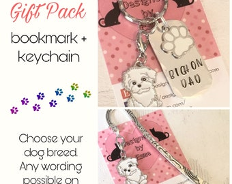 Bichon gift pack, Bichon keyring, Bichon bookmark,Bichon dog keychain, for Mum, for Dad