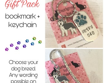 Husky gift pack, Husky keyring, Husky bookmark, Husky dog keychain, Husky Mum, husky Hand Stamped Key Ring