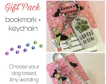 Beagle gift pack, Beagle keyring, Beagle bookmark, Beagle dog keychain Key Ring,for Mum, for Dad