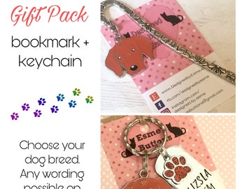 Vizsla gift pack, Vizsla keyring, Vizsla bookmark, dog keychain Key Ring,for Mum, for Dad