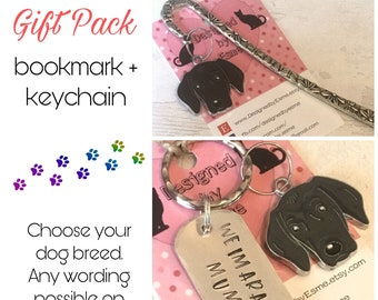 Weimaraner gift pack, Weimaraner keyring, Weimaraner bookmark, dog keychain Key Ring,for Mum, for Dad